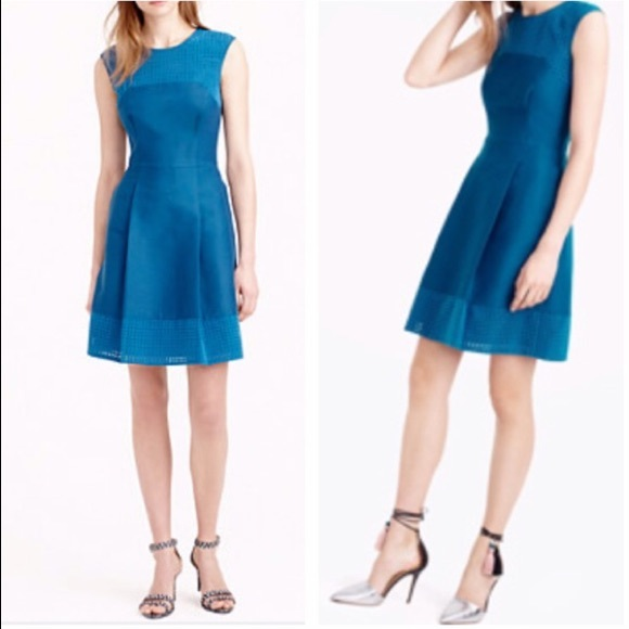 J. Crew Dresses & Skirts - J. Crew peacock blue perforated A line dress